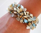 Coastal Beach Wedding Beach Bracelet Nautical Summer Beaded Cuff Bracelet Shell Jewelry Sea Shell MOP Cream Taupe Limited Edition OOAK