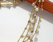 Beaded Crochet Wrap Necklace Bracelet Champagne Pearl Gold Metallic Fashion Accessory Ivory Cream pearls crystals