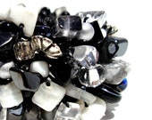 Black and White Beaded Stone Cuff Bracelet Exclusive Lapisbeach Hand Knit Chunky OOAK Semi Precious Stone Onyx charcoal grey silver