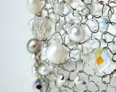Modern Wedding Bracelet. Wire Knit Statement Cuff. Custom Bridal Jewelry. White pearls, crystals, tiffany blue bead