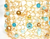 """Mint and Gold Beaded Wire Knit Cuff Bracelet Black Friday Sale """"Mint Julep"""" pearl & crystals mint green gold holiday gift"""