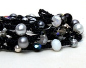 "Beaded Crochet Wrap Lariat Necklace Layered Bracelet Crochet Jewelry ""Black White"" Pearl Crystal Sporty Casual"