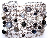 Black and White Pearl Cuff Bracelet Unique Wide Wire Knit Jewelry Silver Modern Metal Lace Mesh stone pearl crystal