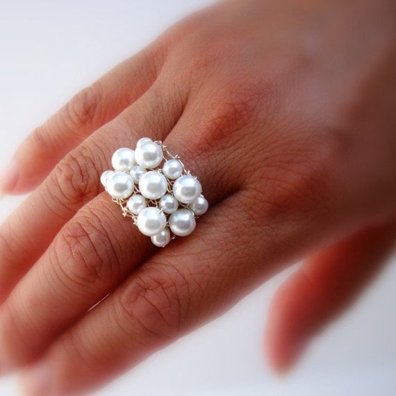 Pearl Ring White Pearl Ring Cocktail Ring Swarovski Pearl Cluster Wire Knit Ring June Birthstone