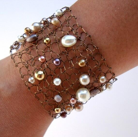 Wide Copper Wire Bracelet Lace Mesh Arm Cuff Ivory Pearl Bracelet Sexy Bronze Pearl Jewelry Cuff Bracelet