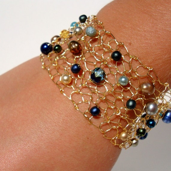 Peacock Cuff Bracelet Wire Knit Jewelry Royal Blue Teal Gold Copper Freshwater Pearls and Crystals