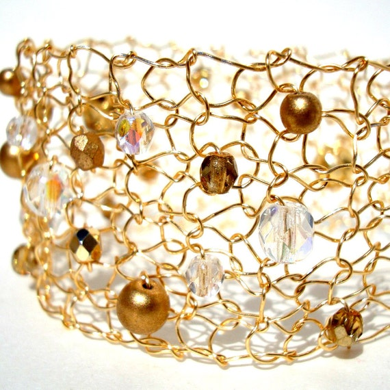 Bridal Gold Metallic Cuff, Hand Knit Wire Lace Wedding Jewelry, exclusive knit metal, vanilla ice, crystal ab, gold, Fall fashion