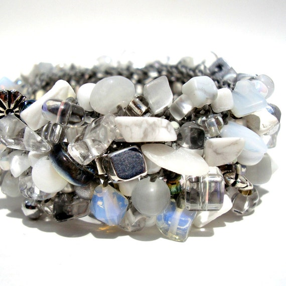 White Stone Cuff Bracelet Silver Beadwork Artisan Hand Knit Jewelry Moonstone Howlite Silver Gray