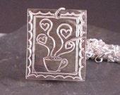 Coffee Mug with Heart Steam Pendant in Silver Precious Metal Clay