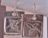 Precious Metal Clay Silver Hummingbird Earrings
