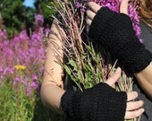 Black fingerless gloves, mittens merino wool, womens knitwear UK
