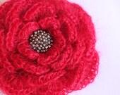 Red Mohair flower brooch, listing B07