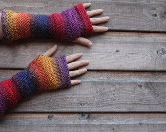 ARM WARMERS , Carnival mittens - extra long elbow length gloves, gift for her, knitwear UK