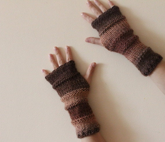 FINGERLESS GLOVES, Comfy mittens in delicious shades of chocolate, knitwear UK, gift for her