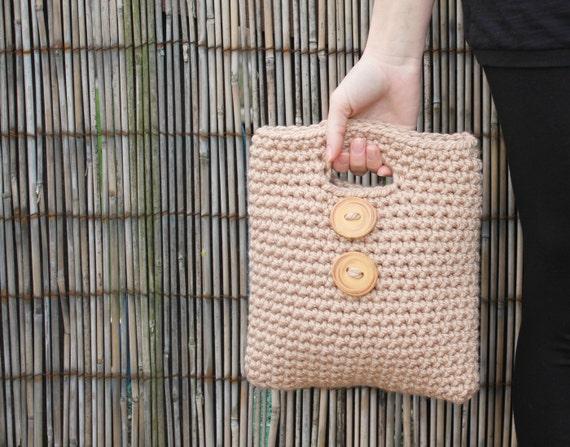 Big button mini purse in Caramel