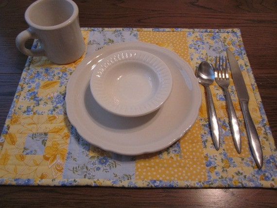 Yellow and Blue Quilted Placemats