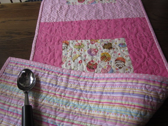 Pink Cupcake Quilted Table Runner