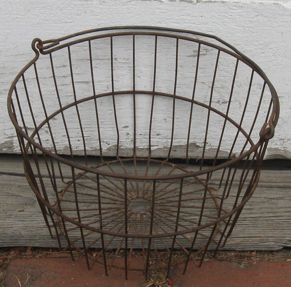 Wire Basket Industrial Chic -- Eggs or Clams