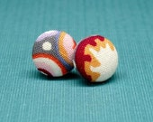 Earrings - Millefiori fabric covered studs