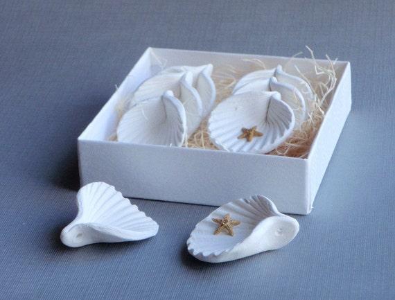 White Ceramic Shell Adornments, White Wedding Decor, Wedding Favors, Pottery Seashells, Set of 8, boxed