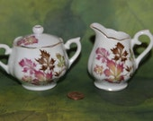 SALE Sugar Bowl and Creamer Demitasse Size Fall leaves Gold trim