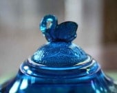 SALE Westmoreland Swan Covered Butter Dish Coveted Teal Blue Rare