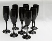 Holiday Champagne Flutes Black Amethyst Glass Vintage Black Purple Rare A tad Goth No longer on reserve!