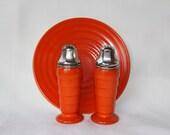 Reserved Hazel Atlas Bright Orange Moderntone Platonite Salt Pepper Plate Hard to find color