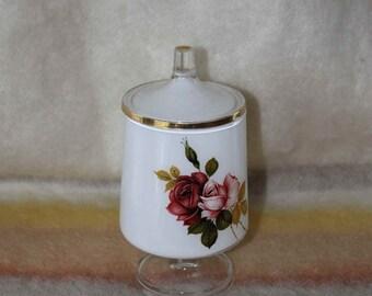 Vintage Rose Apothecary jar Pedestal White Gold