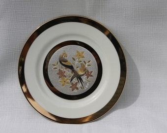 Chokin Plate Bird by Yoshinobu Hara Copper Etching Silver and 24 K Gold Gilding