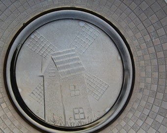 Dutch Windmill Plate Amber Marigold Carnival Glass Depression Glass Checkerboard stamped glassware
