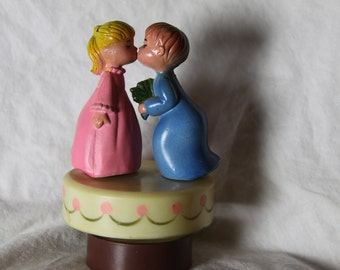Music box Theme from Love Story Vintage Revolving Children Figures