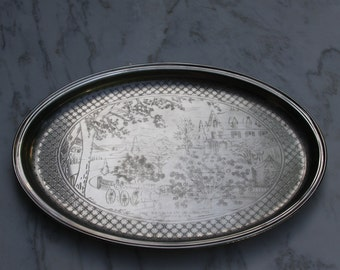 Currier & Ives heavy silver metal Oval Tray The Season of Blossoms design