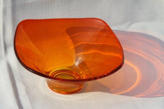 Bright Orange and Green Vintage 1970s Glass Bowl Color Splash Art Glass Unique