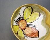 Yellow Honey Bee Bowl / Handmade Pottery Clay