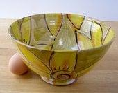 Handmade Pottery Majolica Bowl Earthenware Clay Ceramic Prep Serving Yellow Sunflower on Light Olive Green