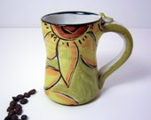 Reserved for Theresa Pottery Mug Clay Cup Yellow Sunflower on Olive Green 10 ounces -2 / Clay Lick Creek Pottery