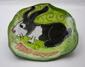 Handmade Majolica Pottery Rabbit Bunny Clay Tray Wall Hanging Green Black White - Clay Lick Creek Pottery