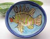 Handmade Ceramic Pottery Majolica Bowl Serving  Earthenware Clay Lion Fish Blue and Yellow Gold