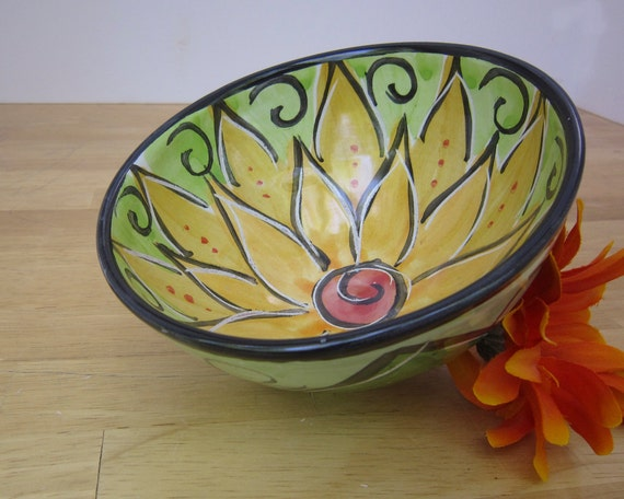 Serving Bowl Majolica Pottery Ceramic Earthenware Clay Yellow Lotus Flower Handmade