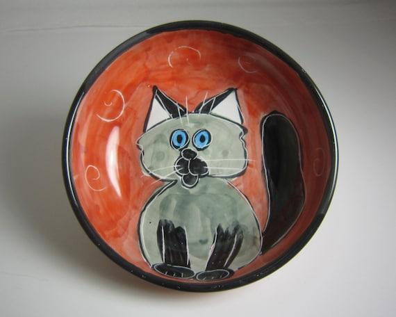Majolica Pottery Feeding Bowl Dish Clay Siamese Cat Grey Gray on Red / Clay Lick Creek Pottery