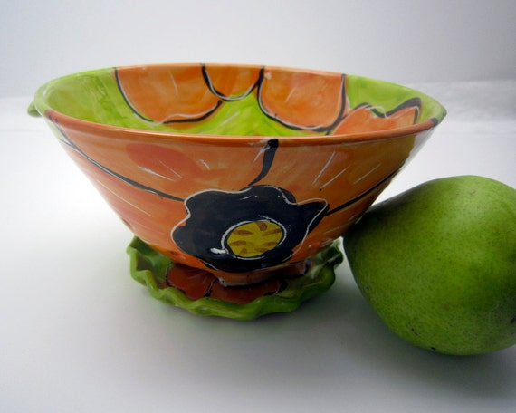 Majolica Pottery Colander Clay Tangerine Orange Poppy on Lime Green Berry Strainer - Clay Lick Creek Pottery