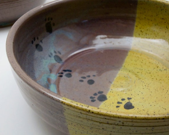 Stoneware Pottery Clay Feeding Dish Pet Cat or Dog Yellow Gold Purple Pottery Bowl - Clay Lick Creek Pottery - 2