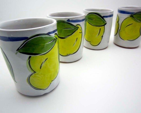 Limoncello Cups Handmade Set of 4 Majolica Clay Pottery Yellow Lemon on White