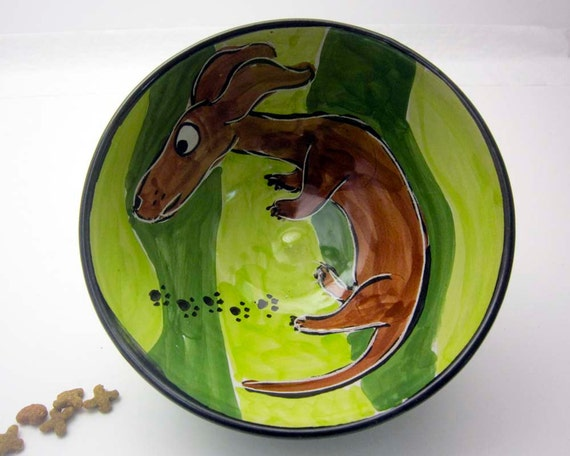 Pottery Bowl Dish Majolica Earthenware Clay Dachshund Wiener Dog Brown on Green - Clay Lick Creek Pottery