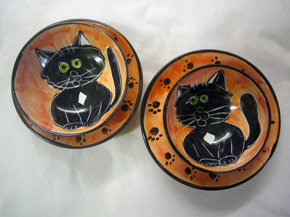 Reserved for Julie -custom moat type cat bowls, set of 4 atomic fish bowls