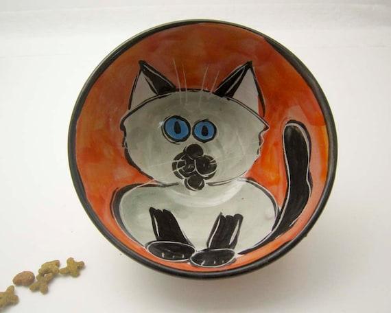 Handmade Majolica Ceramic Pottery Clay Bowl Earthenware Grey Gray and Black Siamese Cat Dish on Orange Red / Clay Lick Creek Pottery