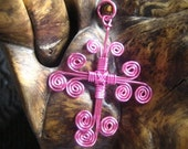 Handmade Non Tarnish Pink Enameled Copper Contemporary Swirled Cross