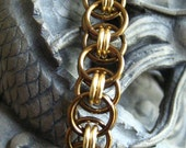 Bracelet KIT -- Helm Weave Vintage Bronze and Non Tarnish Gold Chainmaille  KIT with Instructions