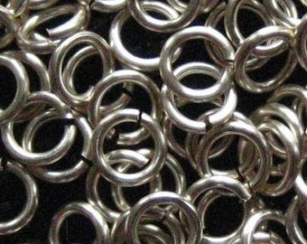 Jump Rings 250 -- 18 ga 4mm Handmade Non Tarnish Silver Enameled Copper Chainmaille